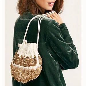 New Free People White Embellished Beaded Pouch Bag